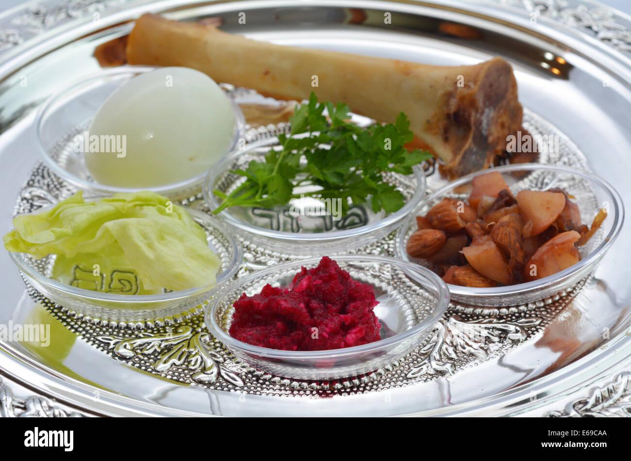 Passover Seder Plate Symbolic Food Stock Photos Passover Seder