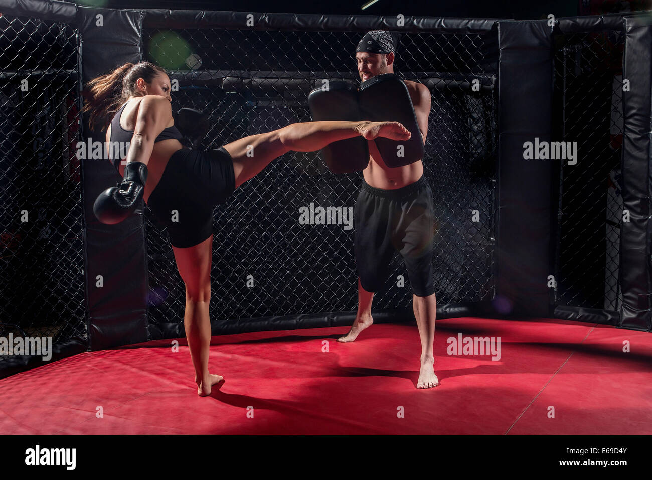 Caucasian fighters training in gym Stock Photo