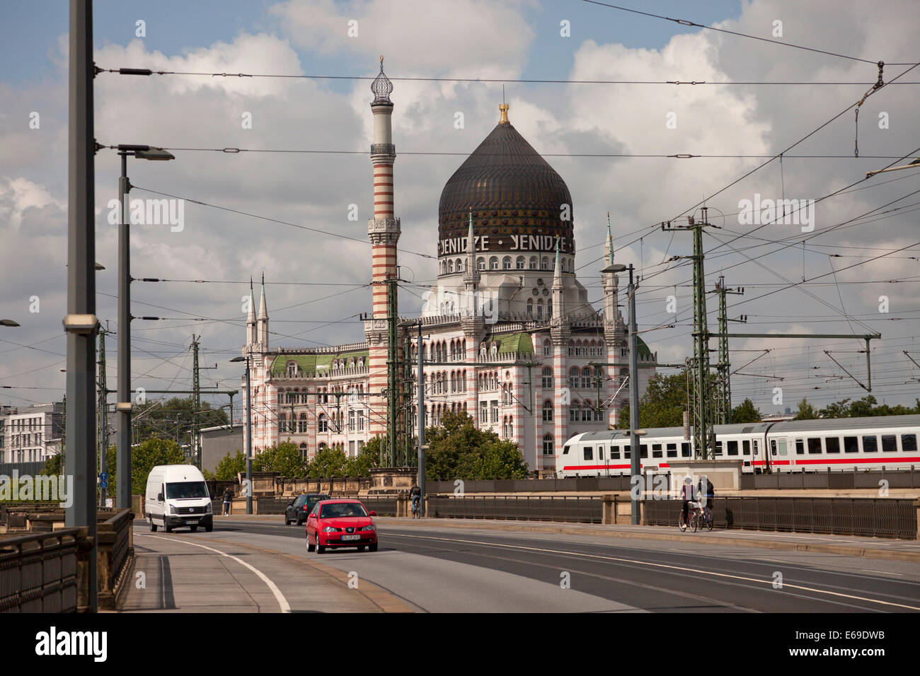 former cigarette factory building Yenidze and traffic in Dresden, Saxony, Germany, Europe - Stock Image