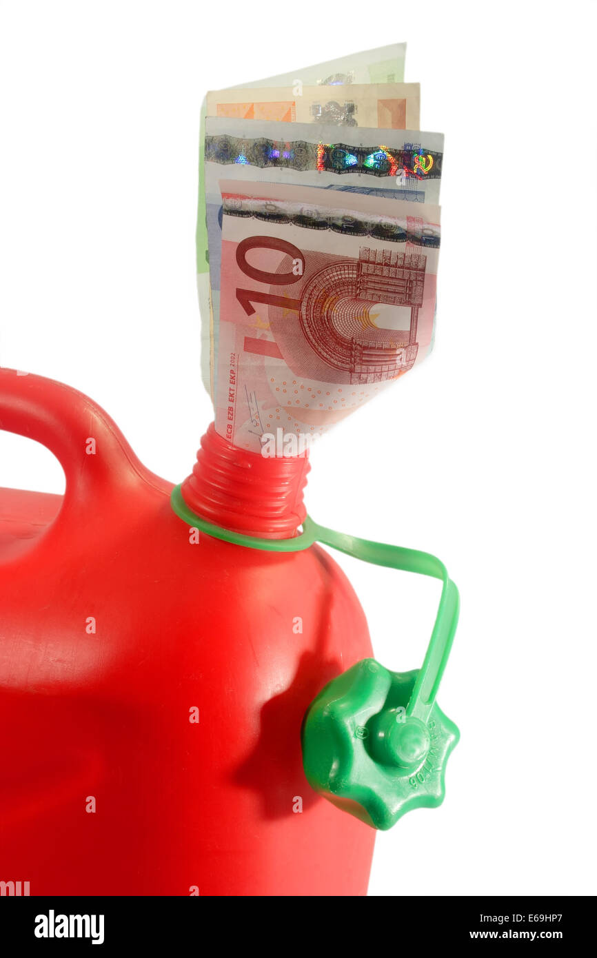 gasoline costs,gas can - Stock Image