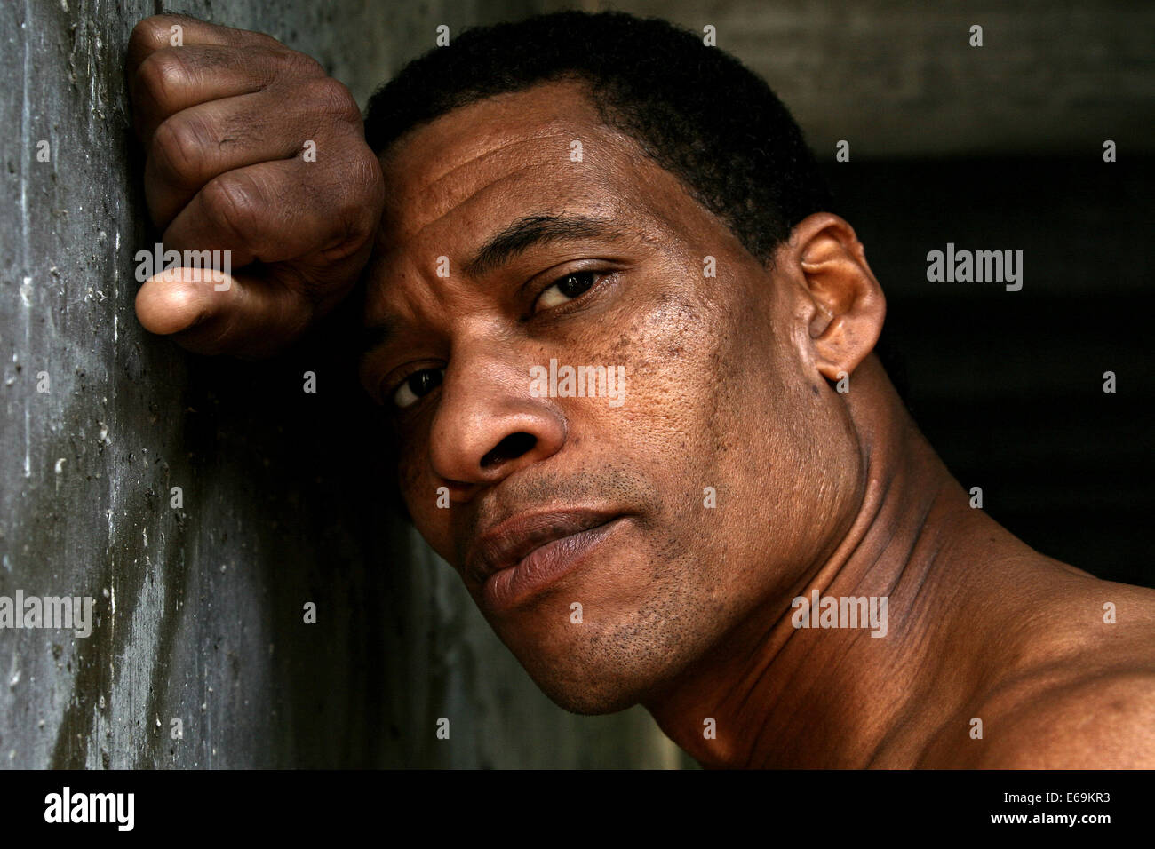 man,exhausted,portrait - Stock Image