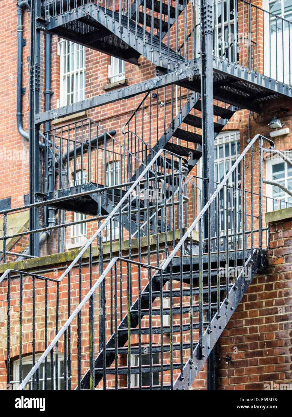 External Metal Staircase Fire Escape On Old Brick Building, Twickenham,  Middlesex, Greater London, UK