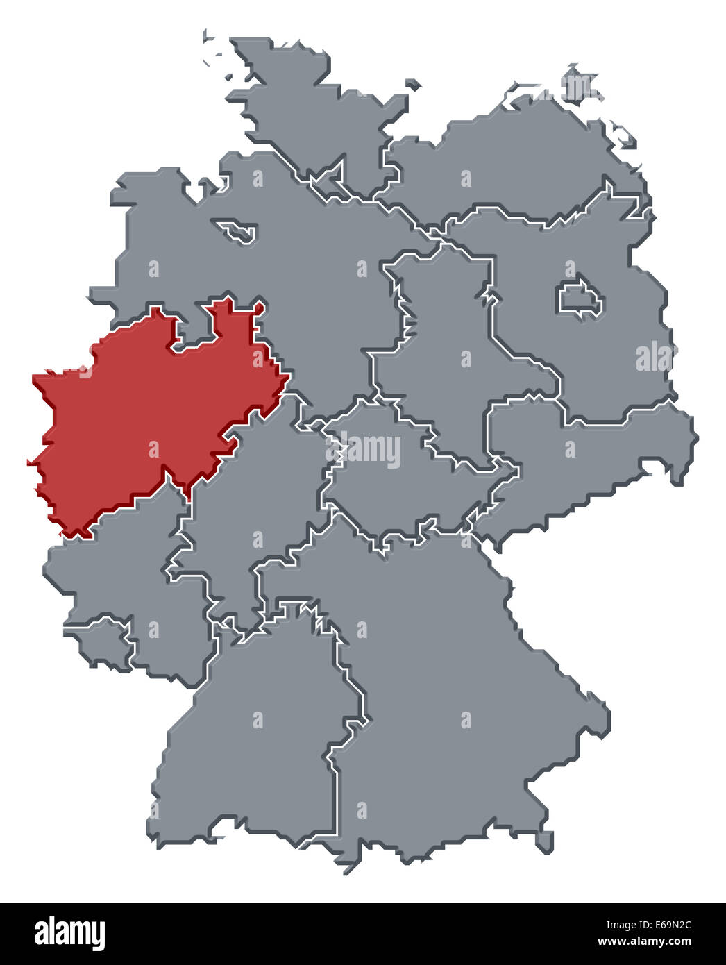 germany,north rhine westphalia,germany map - Stock Image
