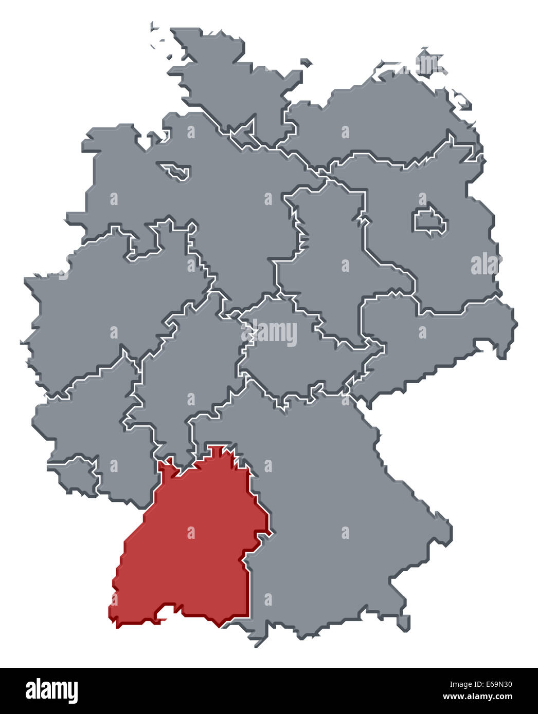 germany,baden württemberg,germany map - Stock Image