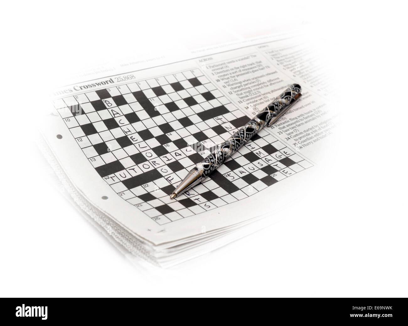 Newspaper crossword Stock Photo