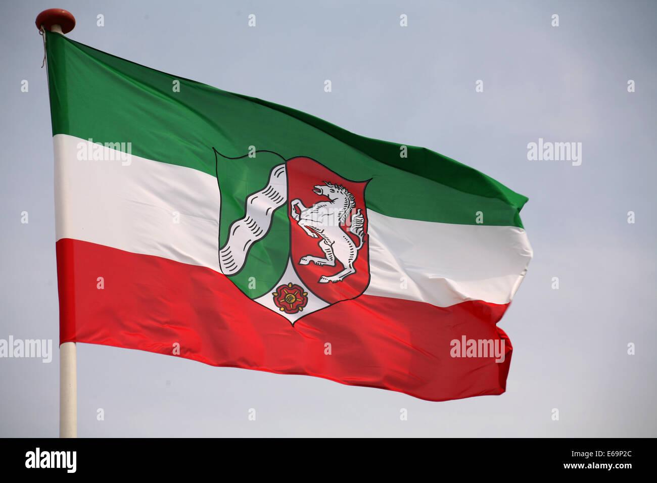 flag,state,north rhine westphalia - Stock Image