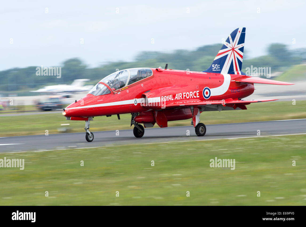 Royal International Air Tattoo 2014, Red Arrow taxying - Stock Image