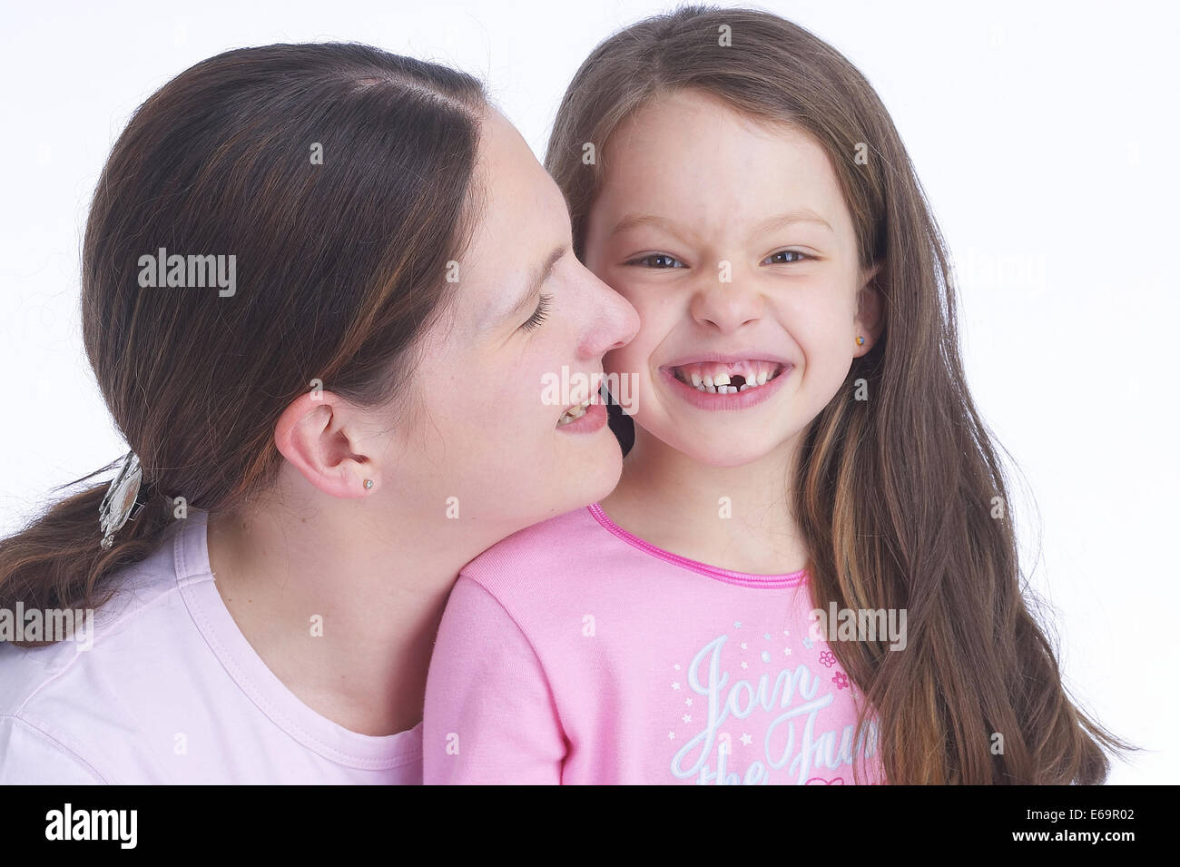 mother,daughter,tooth gap - Stock Image