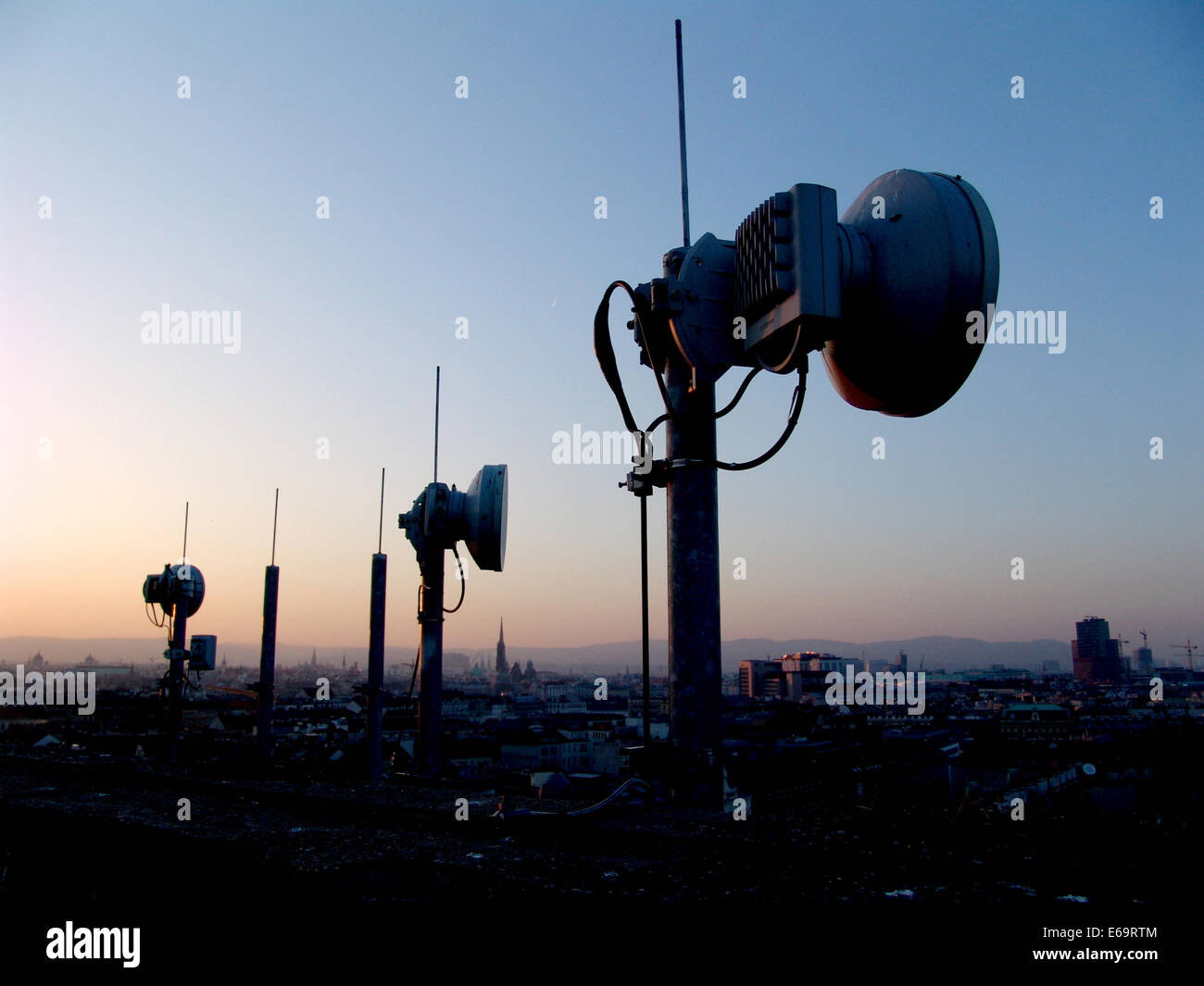sunset,technology,repeater tower - Stock Image