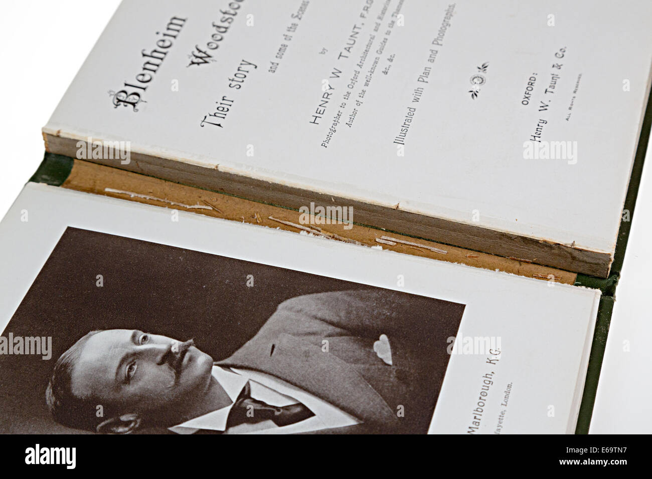 Antiquarian book with damaged spine - Stock Image