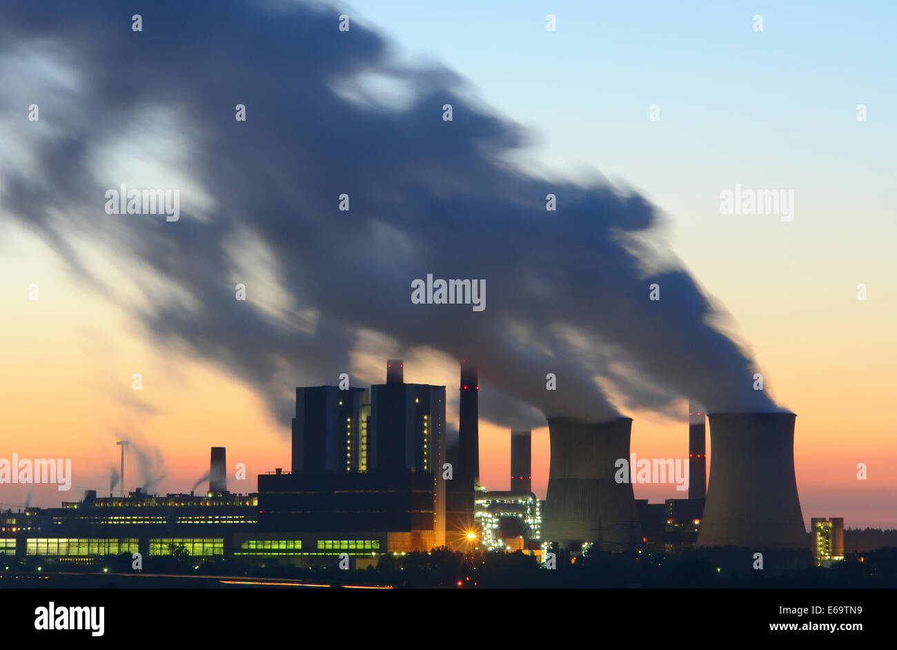 industry,power station,power plant,weisweiler,carbon dioxide - Stock Image