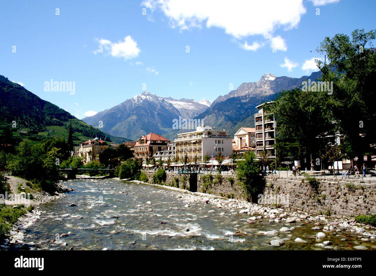 city,river,promenade,merano Stock Photo