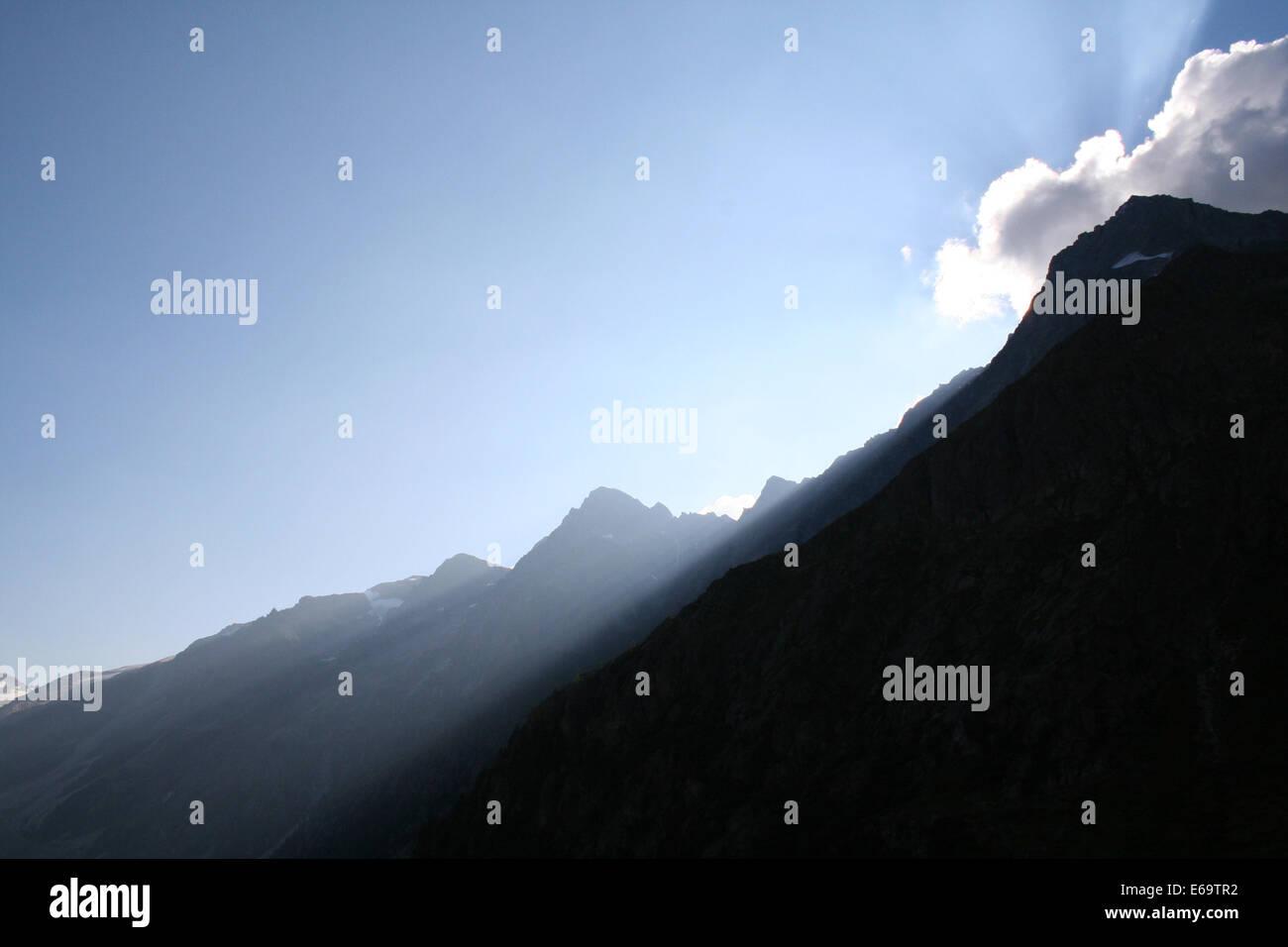sunlight,mountain,majestic - Stock Image
