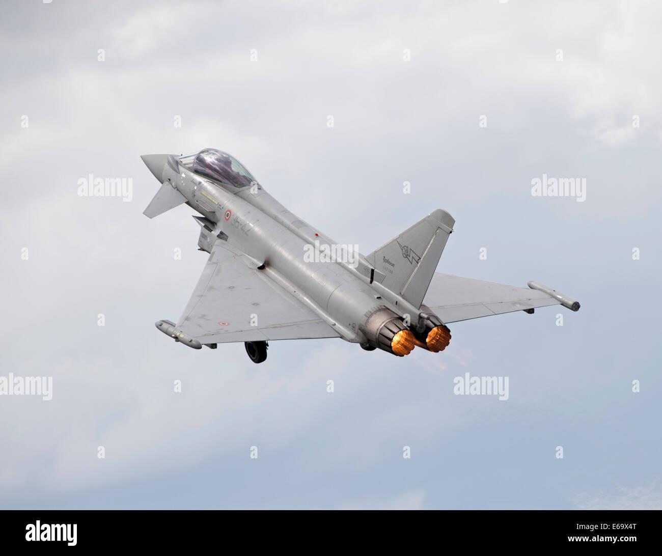 Italian Air Force Eurofighter Typhoon full heat on at the Royal International Air Tattoo 2014 Stock Photo