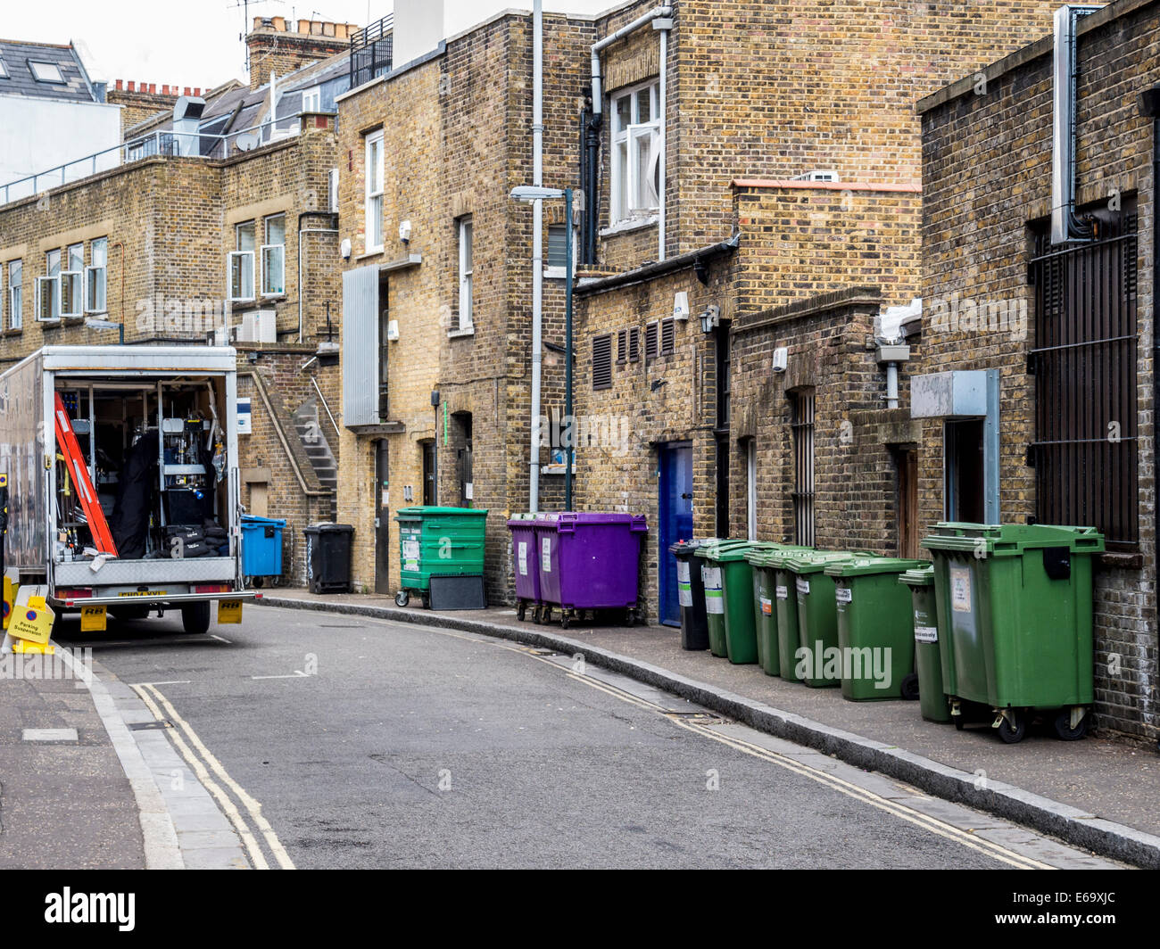 Recyling bins and trash cans in street , Quadrant road, Richmond upon Thames, Surrey, London, UK - Stock Image