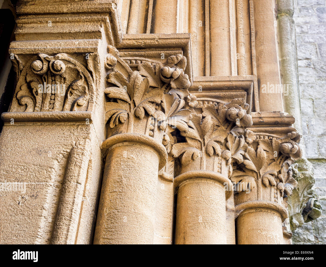 St Mathias Anglican church, Gothic style Victorian Grade ll listed building Stone columns, Richmond upon Thames, - Stock Image