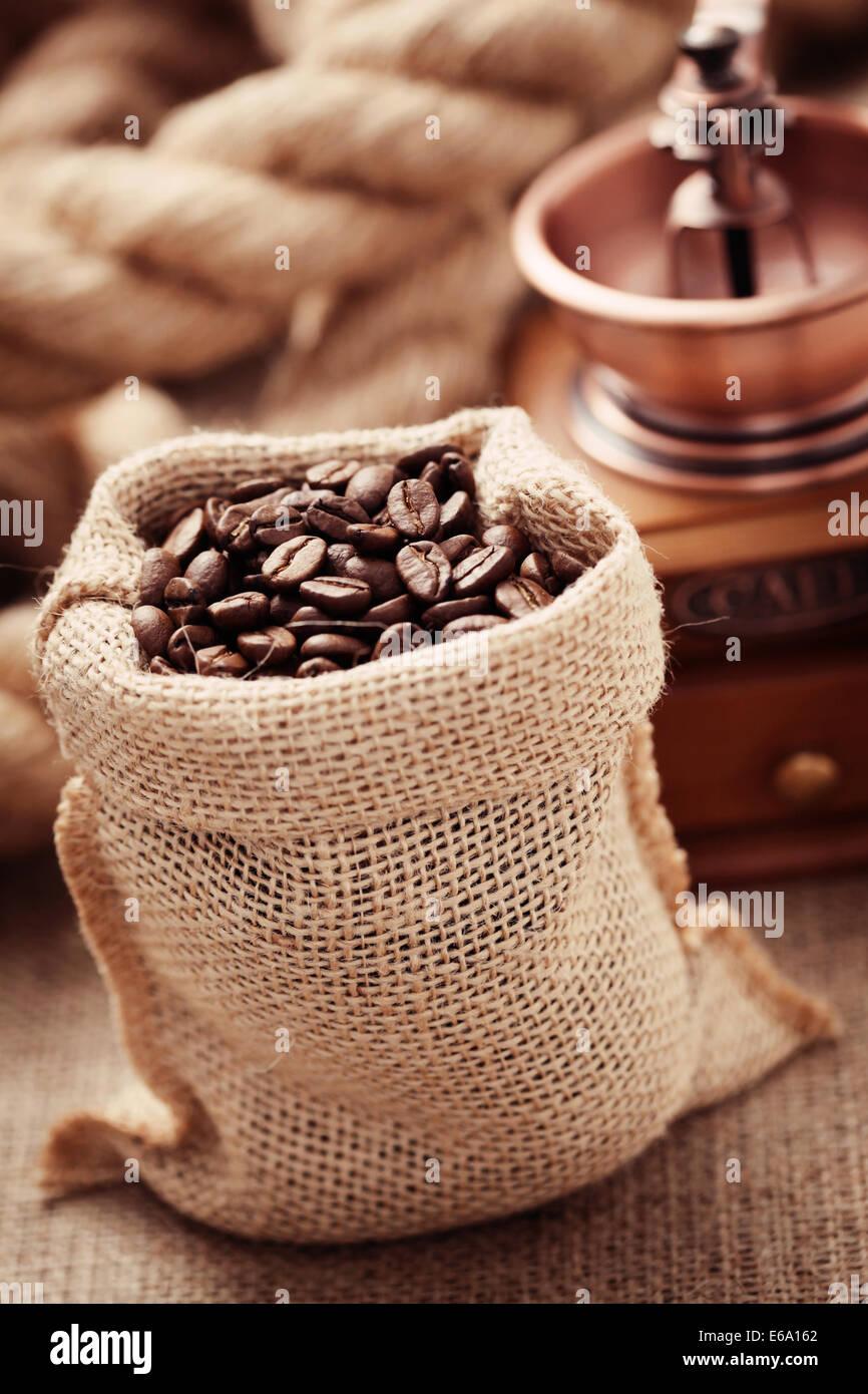 coffee,coffee beans,coffee sack - Stock Image
