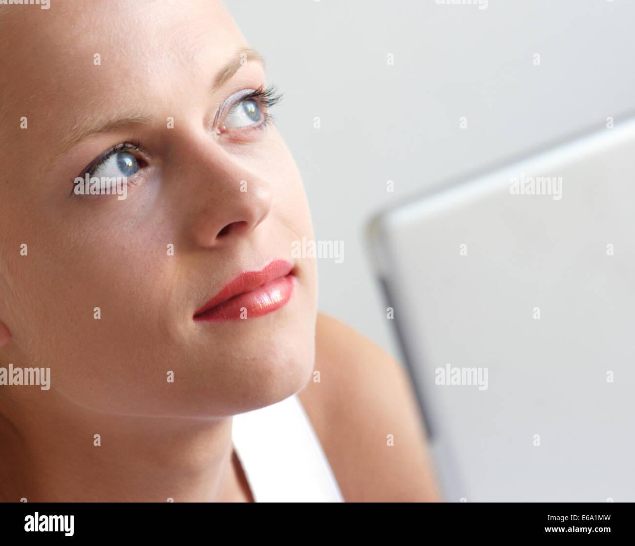 palmtop,young woman - Stock Image