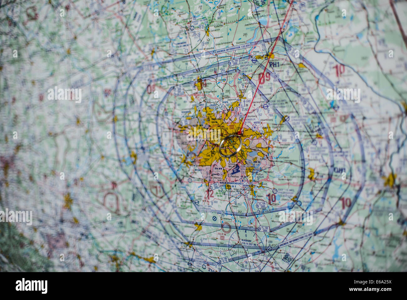 Berlin, Germany. 8th July, 2014. A navigation chart of the rescue helicopter DRF 'Christoph Berlin' on the - Stock Image