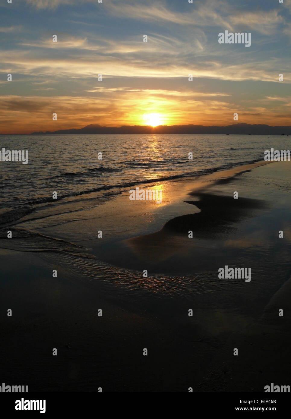 sunset,beach,sea - Stock Image