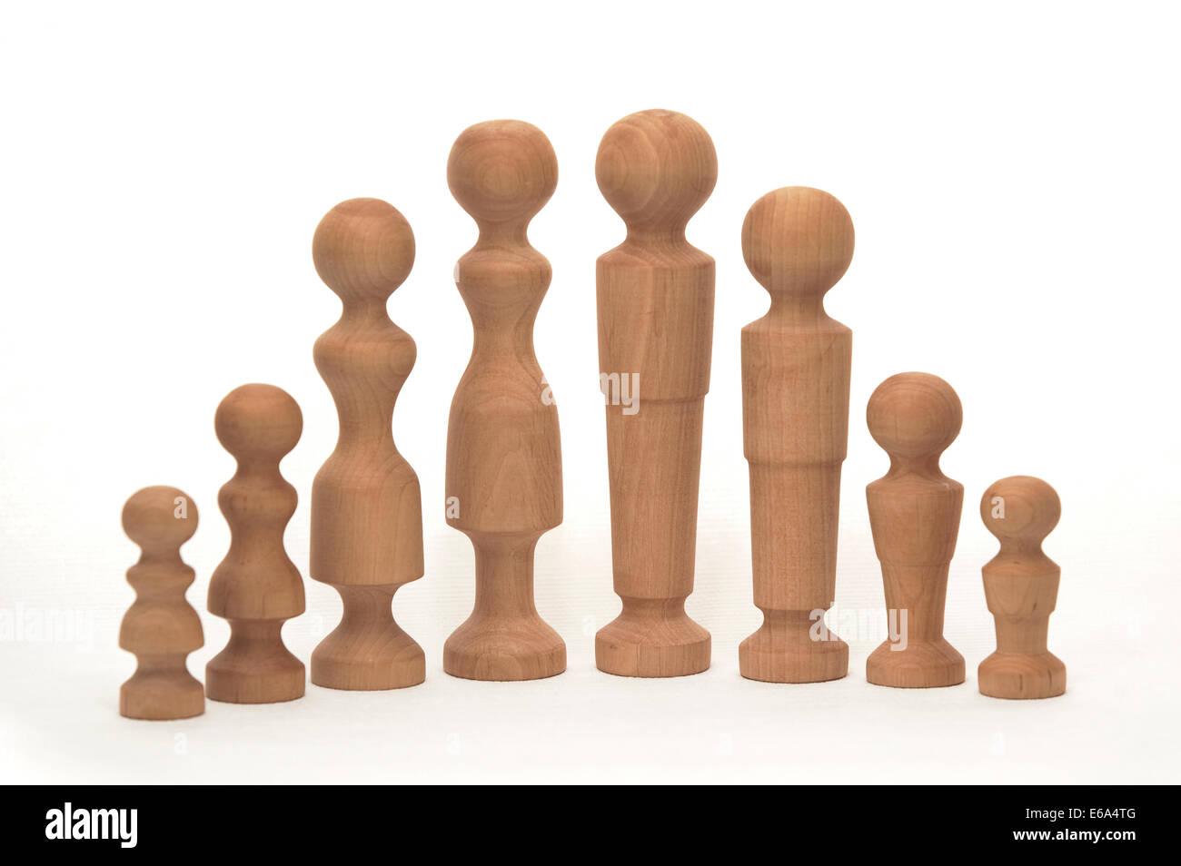 wooden figure,family,extended family - Stock Image