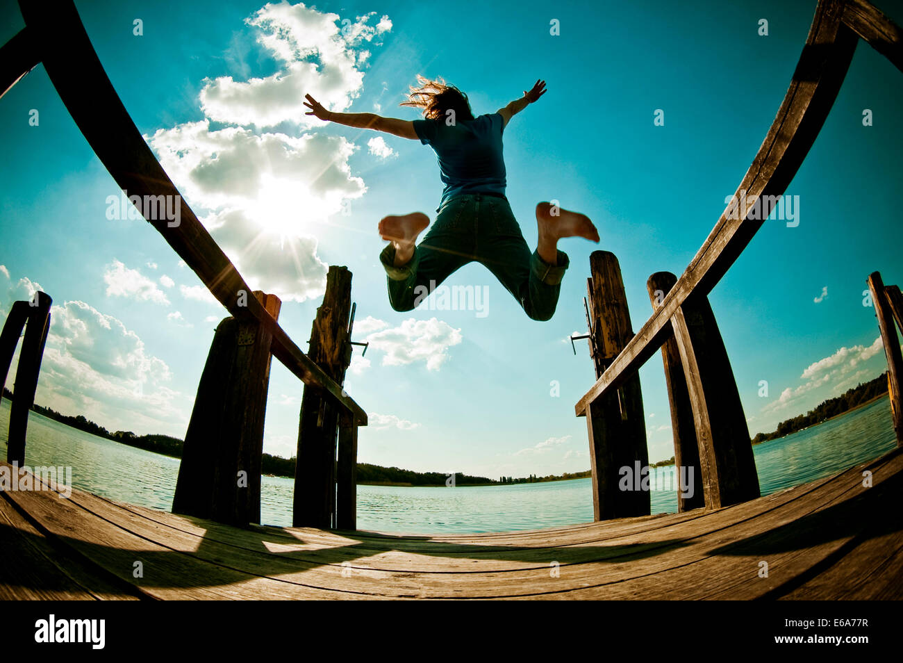 jump,pier,joy,omitted,summer - Stock Image