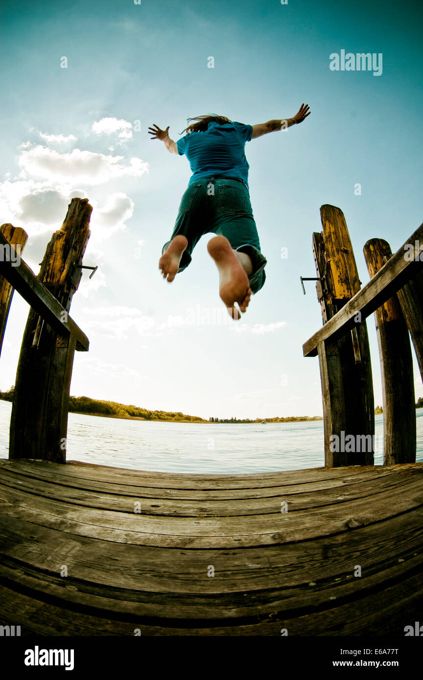 jump,pier,joy,bathing,omitted - Stock Image