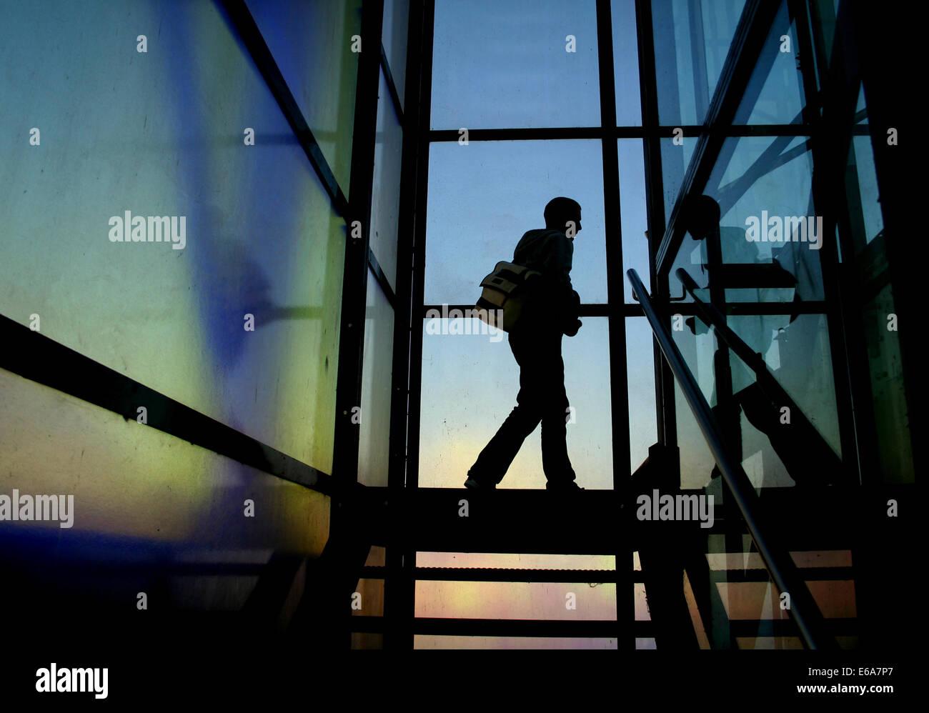 man,stairway - Stock Image