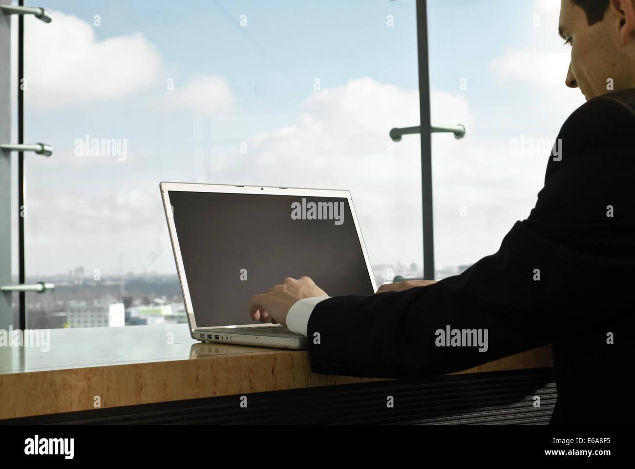palmtop,office,workplace,mobile communication,businessman - Stock Image