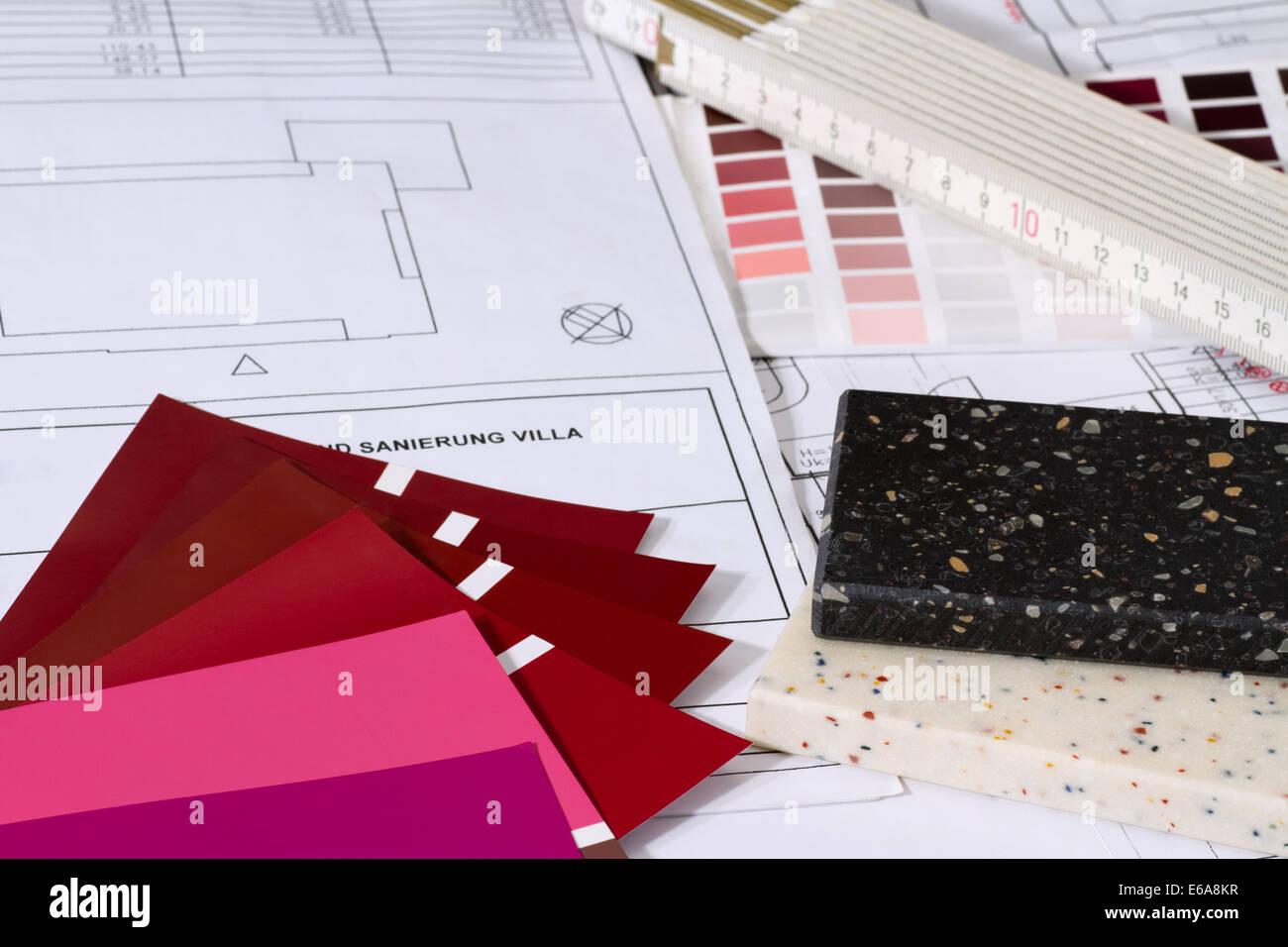 floorplan,reconstruction,color swatch - Stock Image