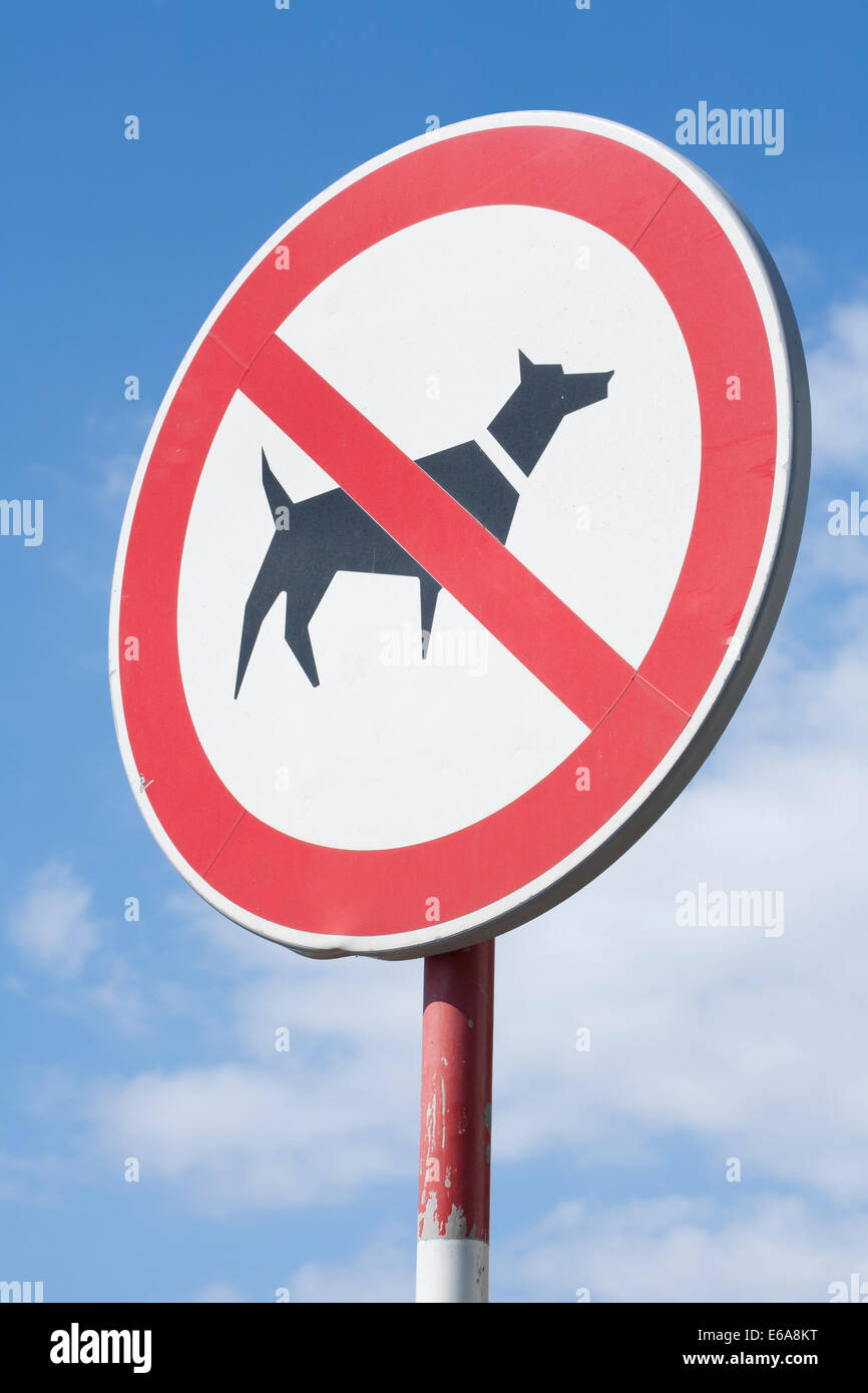 A sign prohibiting dogs. - Stock Image