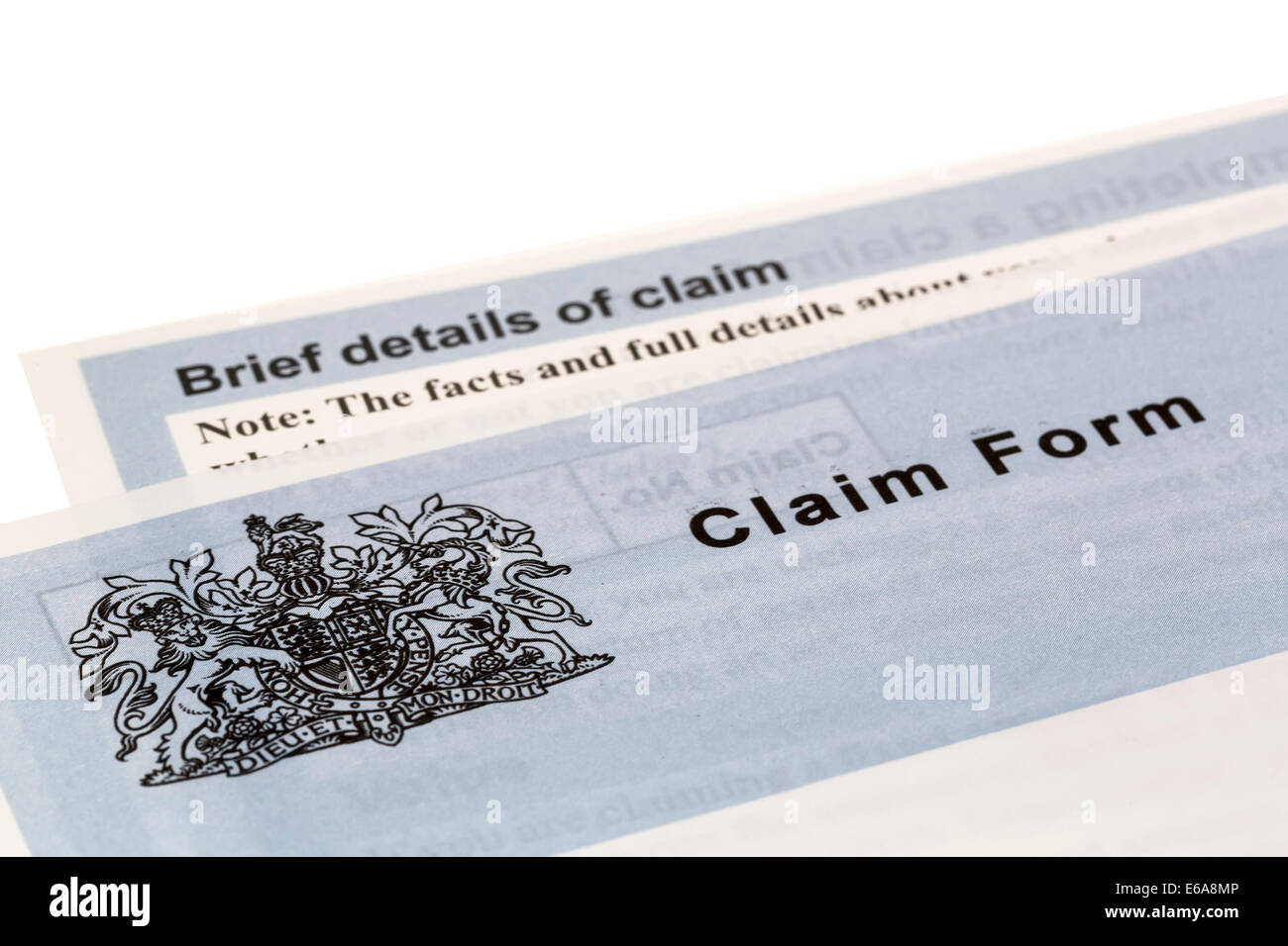 Claim form court leaflet, UK - Stock Image