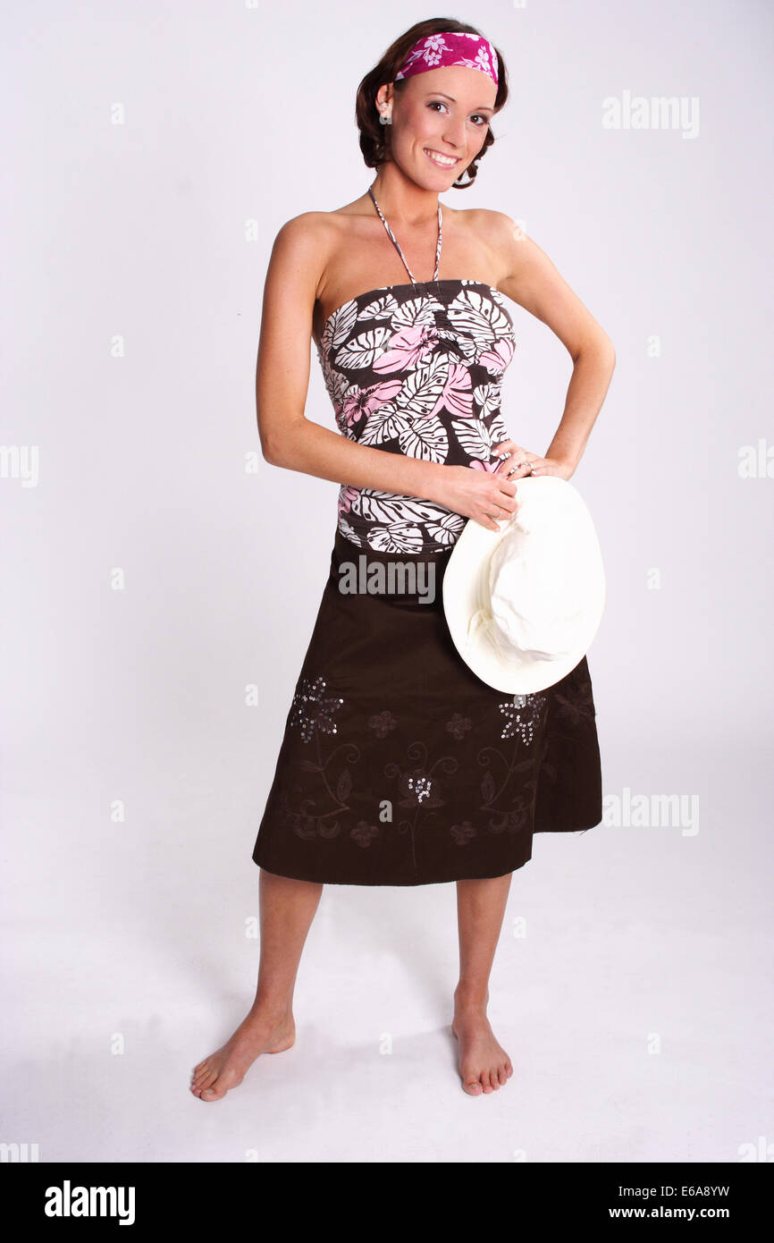 woman,bandana,summer hat - Stock Image