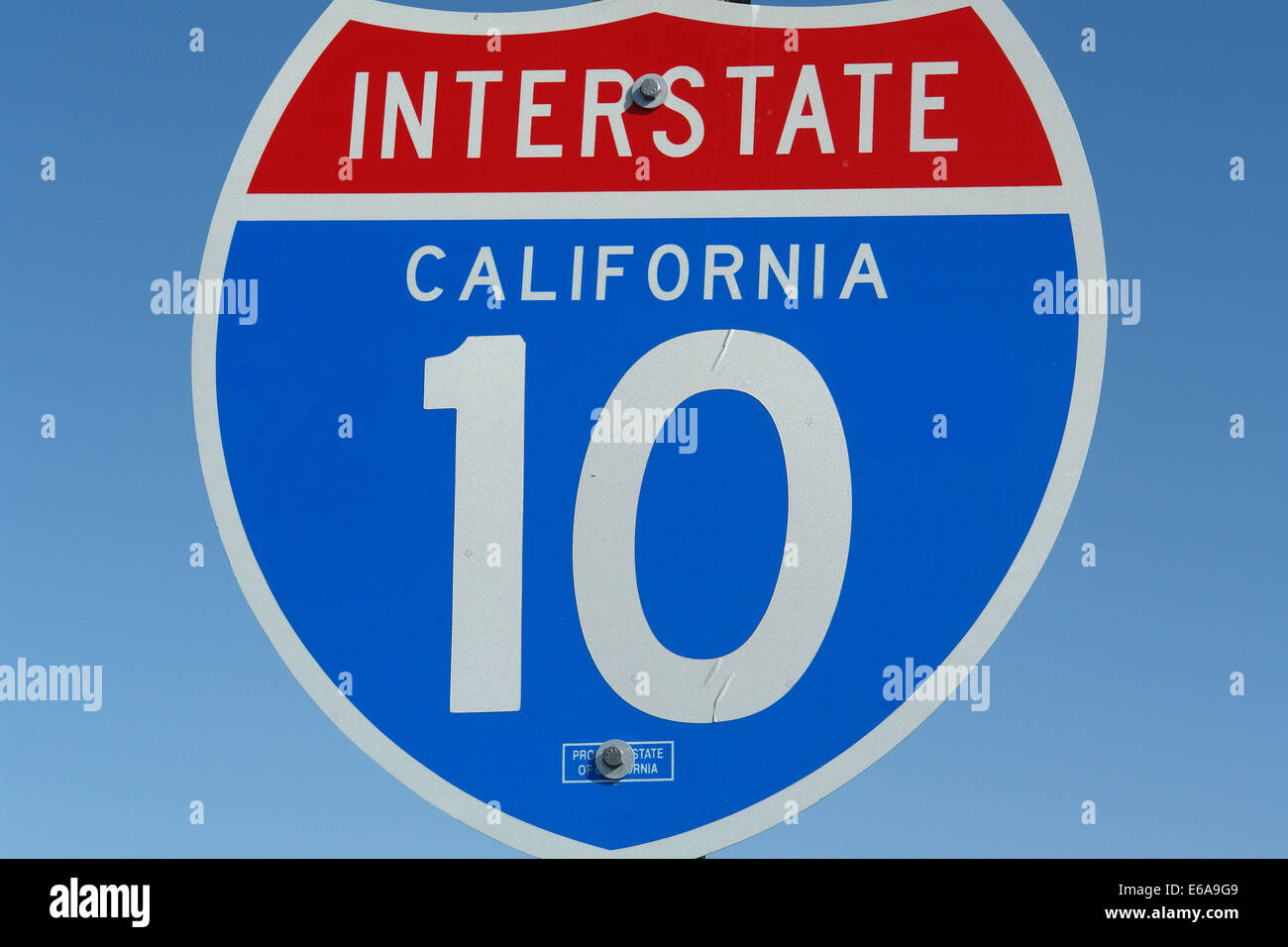 traffic sign,highway,interstate,california - Stock Image