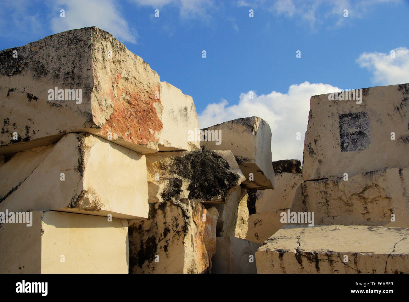 quarry,marble,block of marble - Stock Image