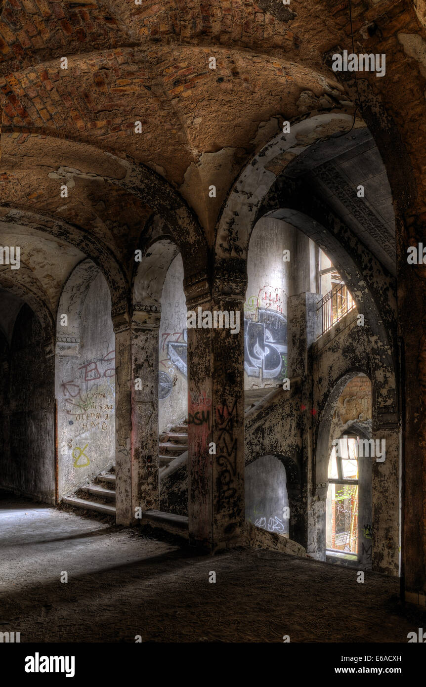 destruction,dilapidated,mystical,stairway - Stock Image