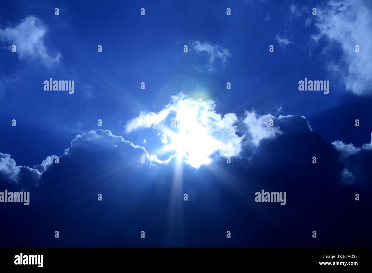 sun,sky only,sunbeams, sun beams - Stock Image