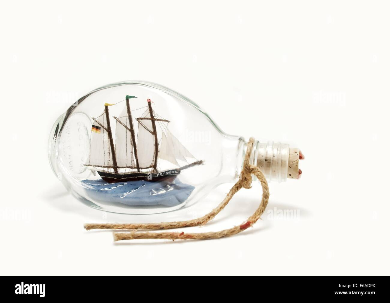 ship in a bottle,model ship - Stock Image