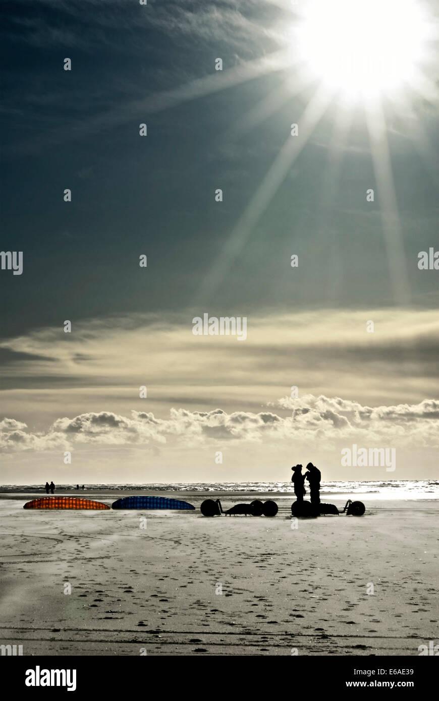 north sea,kiteboarding - Stock Image