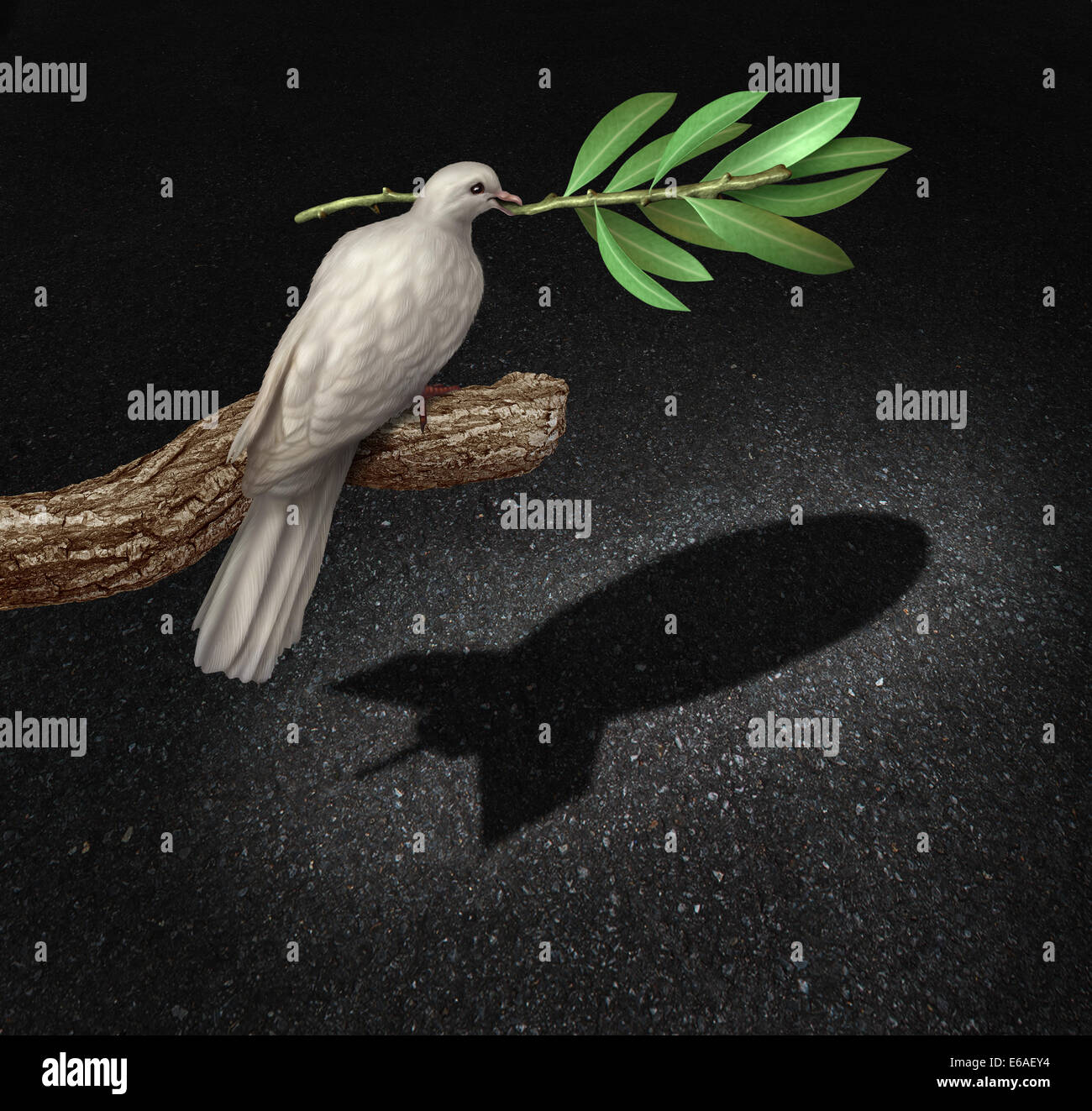 Risk of war concept as a freedom peace dove holding an olive branch casting a shadow that is shaped as a bomb as - Stock Image