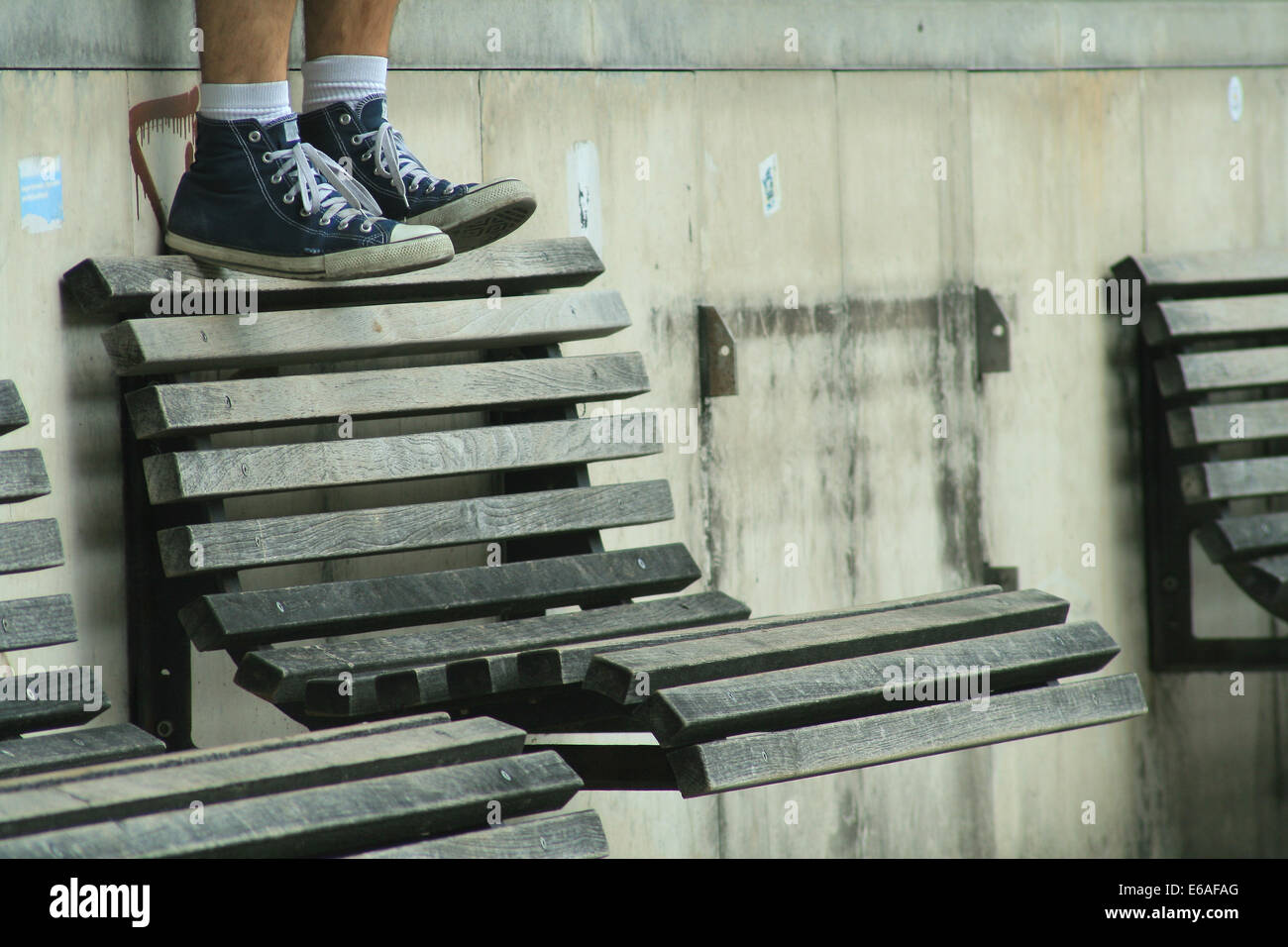 youth culture,bench,sneaker - Stock Image