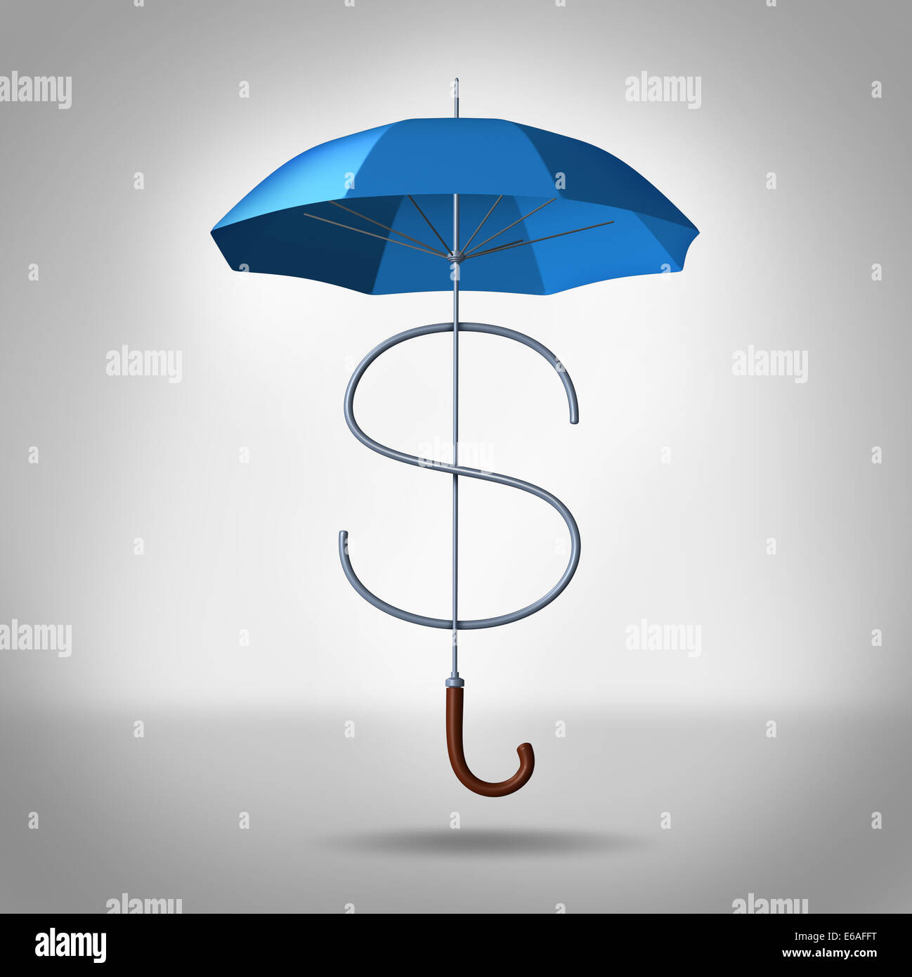 Tax shelter and security costs financial and business concept as a three dimensional umbrella shaped as a dollar - Stock Image