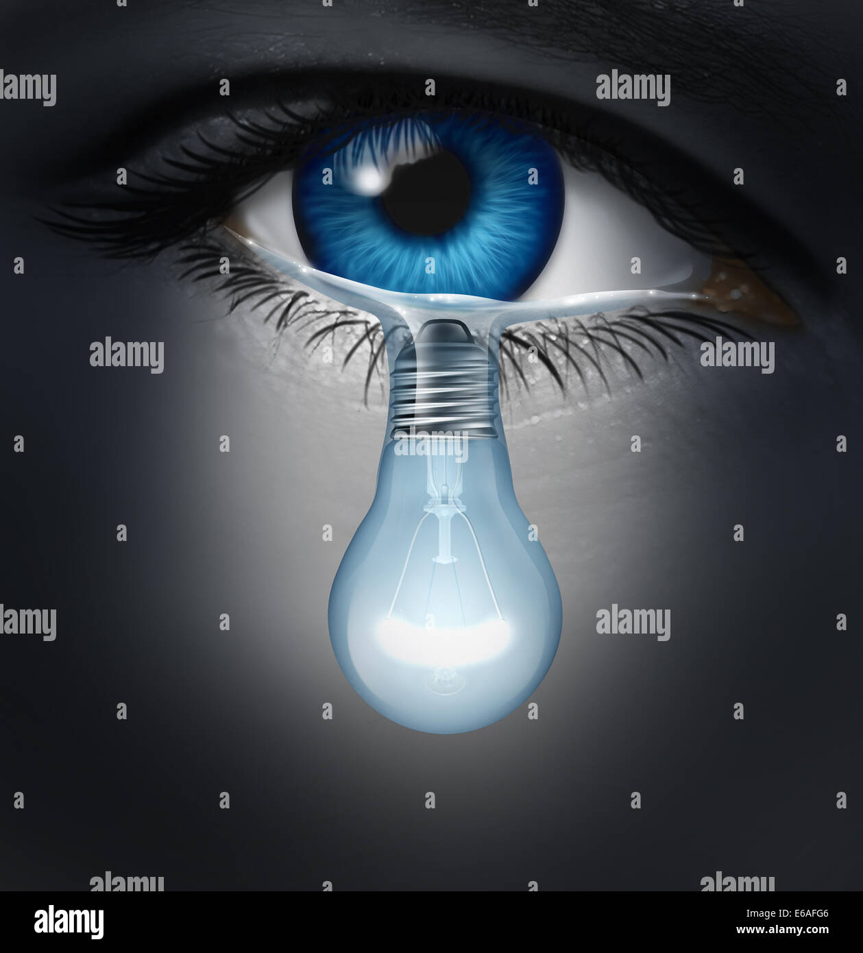 Depression therapy concept as a depressed human eye crying a tear shaped as a light bulb as a metaphor for solutions - Stock Image