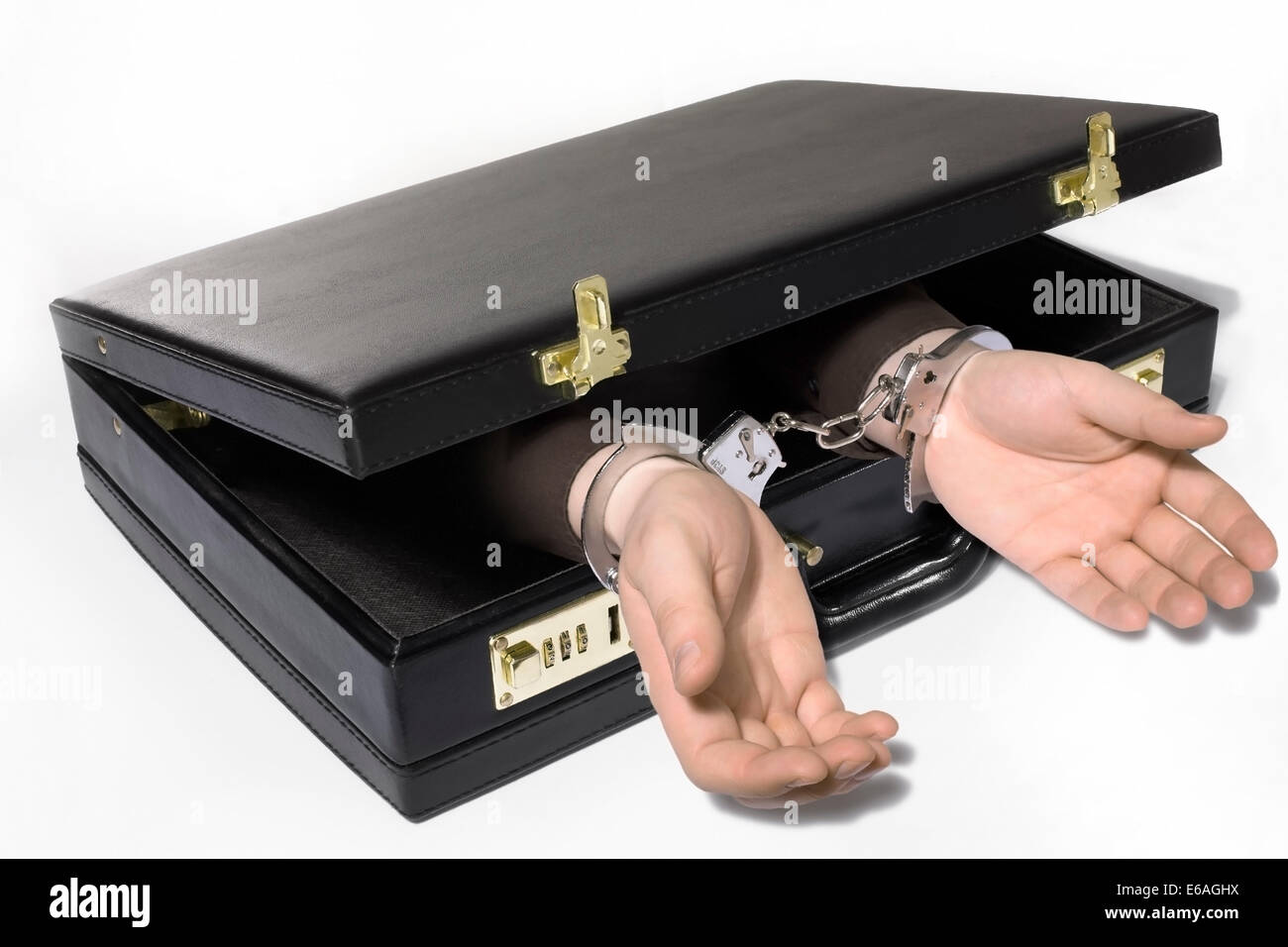 white collar crime,handcuffs,tied - Stock Image