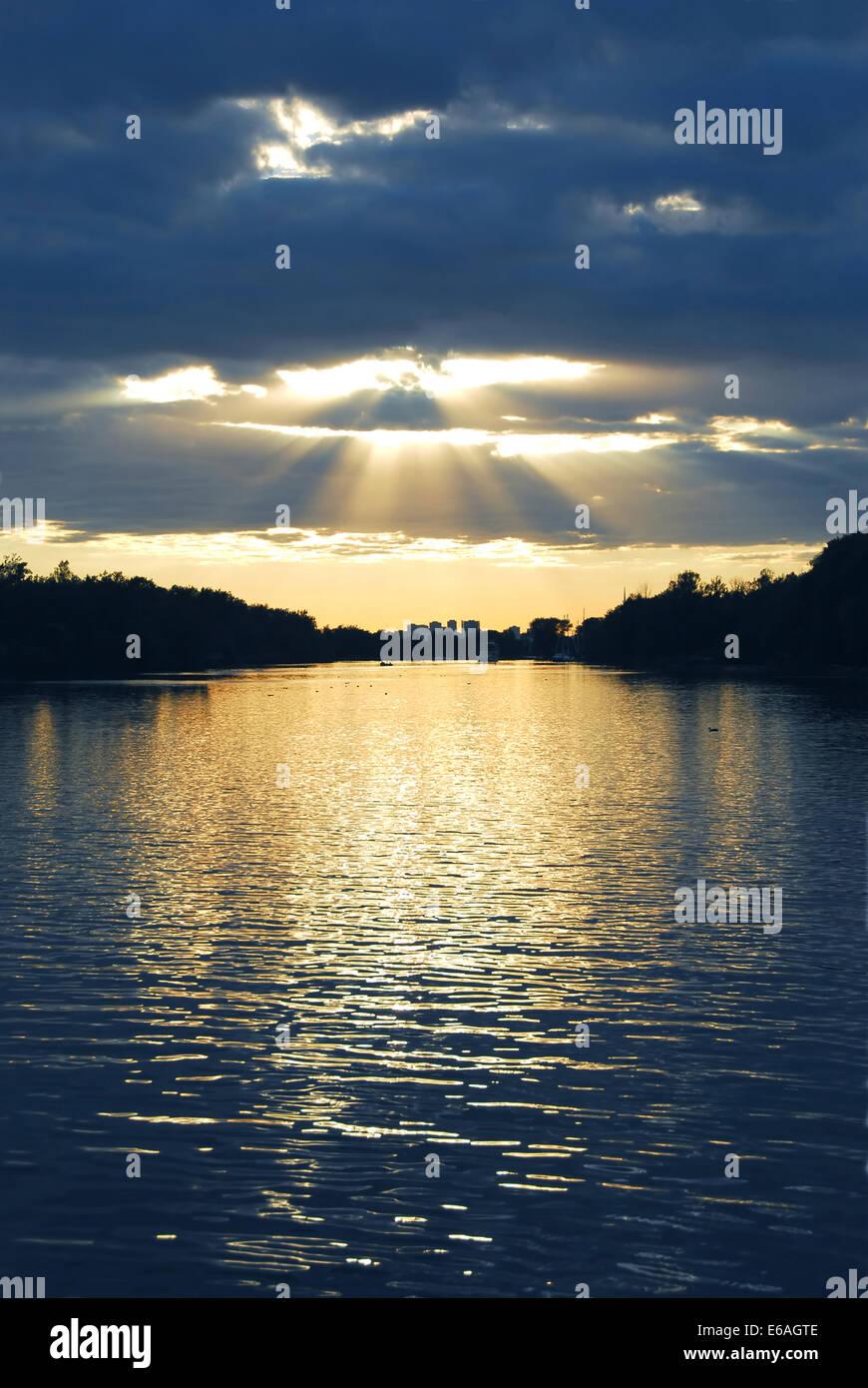 landscape,sunlight,sunbeams, sun beams - Stock Image
