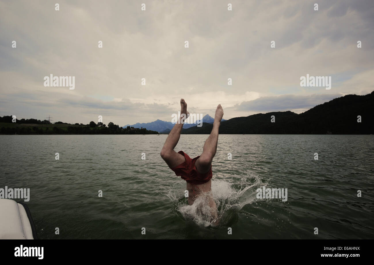 bathing,lake,headfirst,header Stock Photo