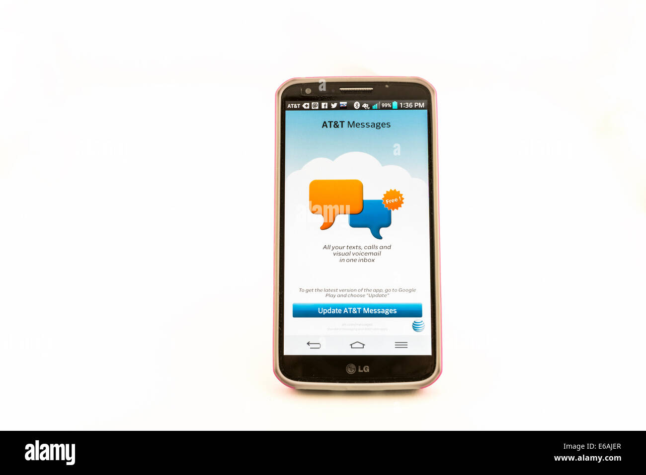 An LG G2 mobile phone showing screen on with the AT&T logo  Isolated