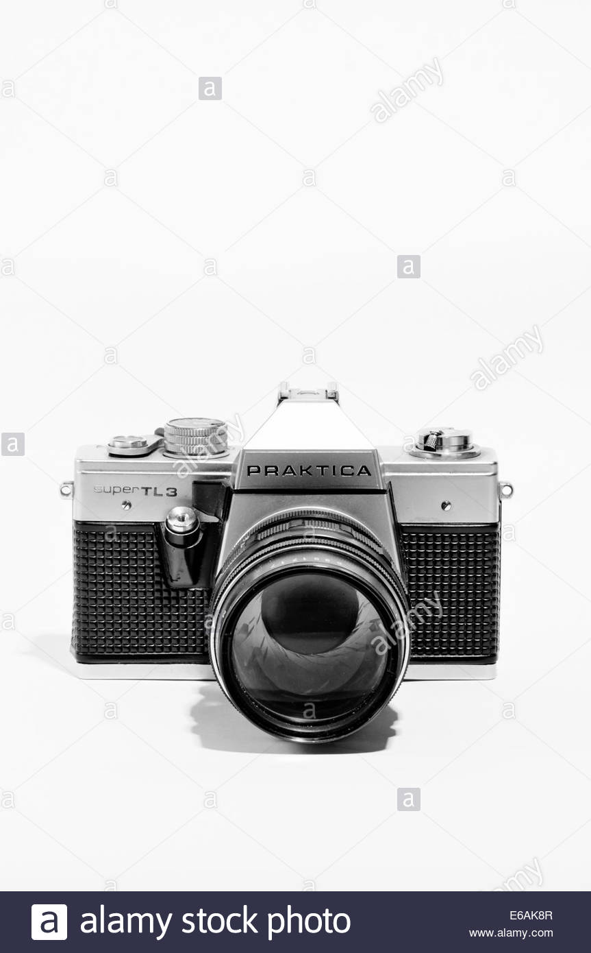 closeup of praktica super tls single lens reflex film camera from 1978 to 1980 - Stock Image