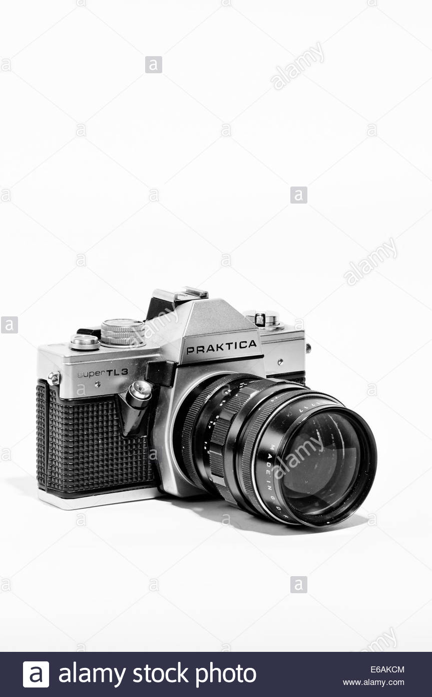 closeup of praktica tls single lens reflex film camera from 1978 to 1980 - Stock Image
