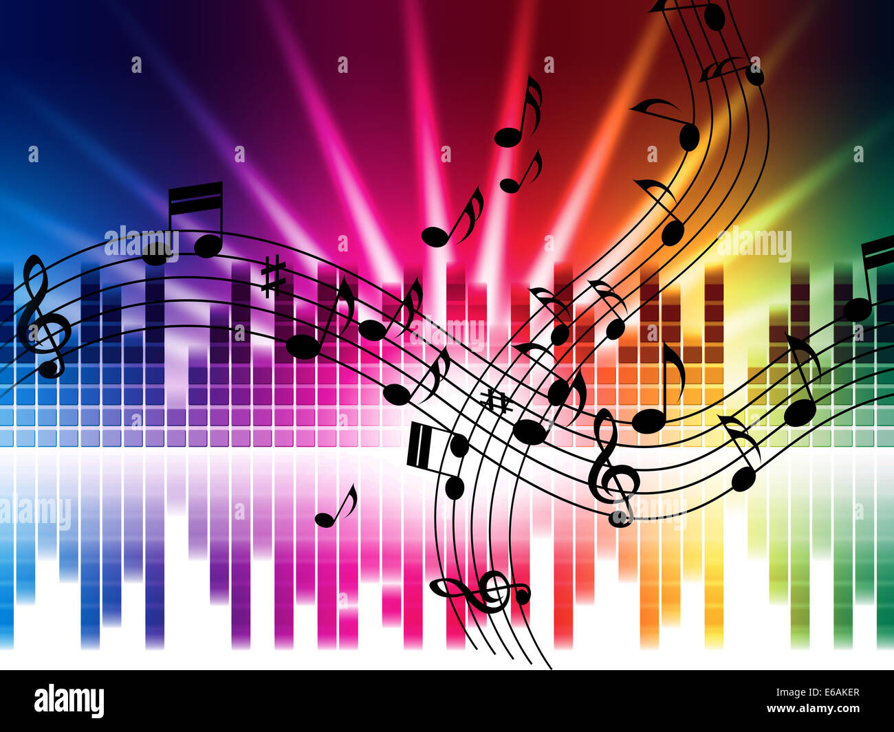 Rainbow Music Background Meaning Colorful Lines And Melody: Music Background Meaning Playing Songs Stock Photos
